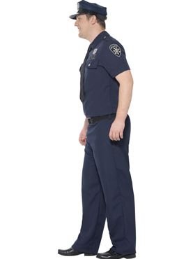 Adult Plus Size NYC Cop Costume - Back View