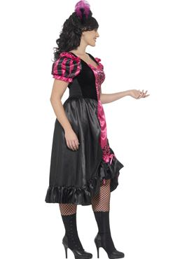 Adult Plus Size Curves Sassy Saloon Costume - Back View