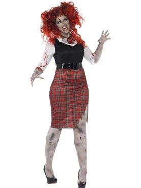 Adult Curves Zombie School Girl Costume