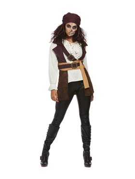 Adult Dark Spirit Pirate Costume - Back View