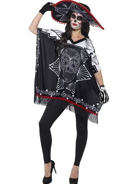 Adult Day of the Dead Bandit Costume - Back View