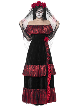 Adult Day of the Dead Bride Costume Couples Costume