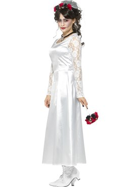 Adult Day of the Dead Bride Costume - Back View