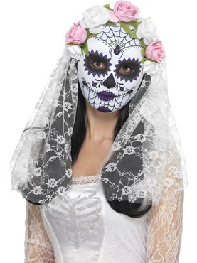 Adult Day of the Dead Bride Mask Couples Costume