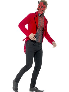 Adult Day of the Dead Devil Costume - Back View
