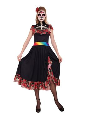 Adult Day of the Dead Lady Costume Couples Costume