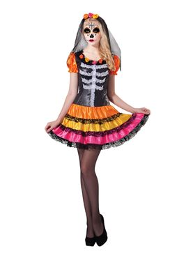 Adult Day of the Dead Rainbow Costume