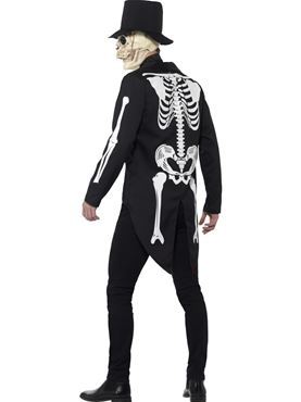 Adult Day of the Dead Senor Skeleton Costume - Back View