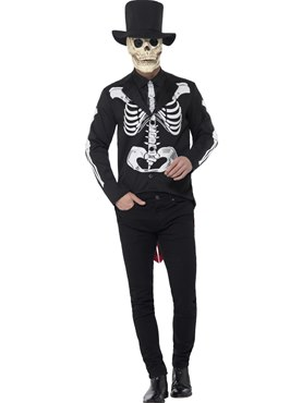 Adult Day of the Dead Senor Skeleton Costume Couples Costume