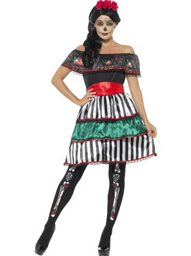 Adult Day of the Dead Senorita Doll Costume Couples Costume