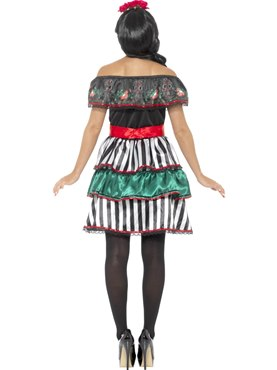 Adult Day of the Dead Senorita Doll Costume - Side View