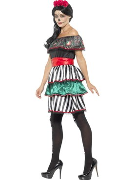 Adult Day of the Dead Senorita Doll Costume - Back View