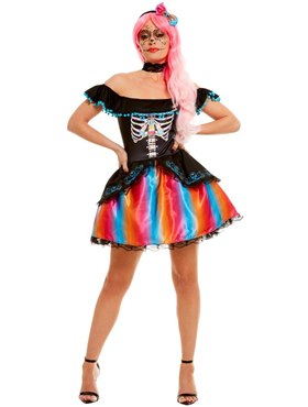 Adult Day of the Dead Senorita Ombre Costume - Side View