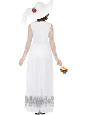 Adult Day of the Dead Skeleton Bride Costume - Side View