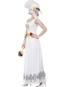 Adult Day of the Dead Skeleton Bride Costume - Back View
