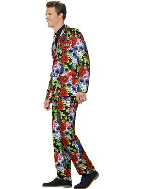 Adult Day of the Dead Stand Out Suit - Back View