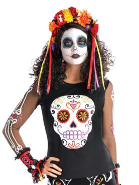 Adult Day of the Dead Top Couples Costume