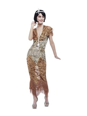 Adult Deluxe 20s Sequin Gold Flapper Costume