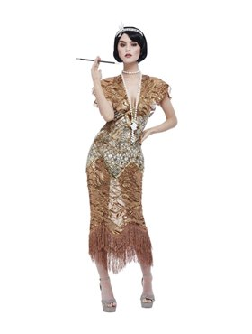 Adult Deluxe 20s Sequin Gold Flapper Costume - Back View