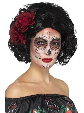 Adult Deluxe Black Day of the Dead Doll Wig