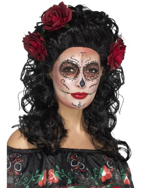 Adult Deluxe Black Day of the Dead Wig