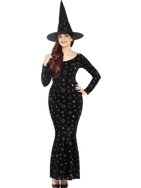 Adult Deluxe Black Magic Ouija Witch Costume - Back View