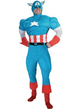 Adult Deluxe Captain America Muscle Costume