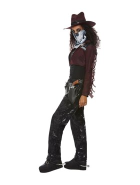 Adult Deluxe Dark Spirit Western Cowgirl Costume - Back View