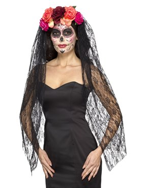 Adult Deluxe Day of the Dead Headband and Veil