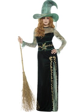 Adult Deluxe Emerald Witch Costume - Back View