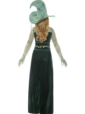 Adult Deluxe Emerald Witch Costume - Side View