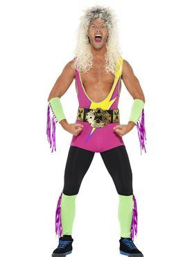 Adult 80s Retro Wrestler Costume