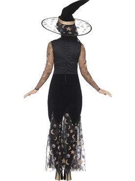 Adult Deluxe Moon and Stars Witch Costume - Side View