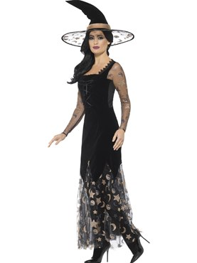 Adult Deluxe Moon and Stars Witch Costume - Back View