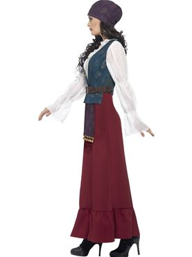 Adult Deluxe Pirate Buccaneer Beauty Costume - Back View