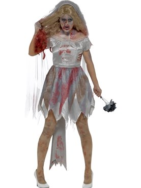 Adult Deluxe Zombie Bride Costume - Back View