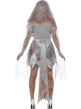 Adult Deluxe Zombie Bride Costume - Side View