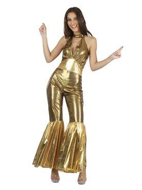 Adult Disco Female Gold Jumpsuit