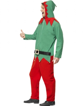 Adult Elf Onesie Costume - Back View