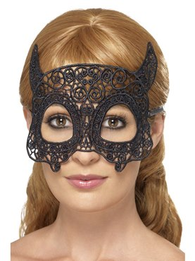 Adult Embroidered Lace Filigree Devil Eye Mask