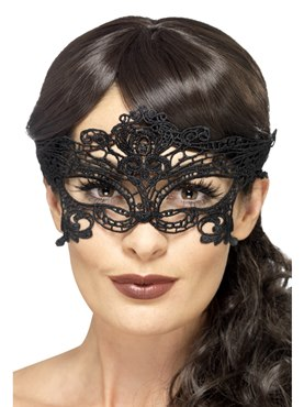 Adult Embroidered Lace Filigree Heart Eye Mask