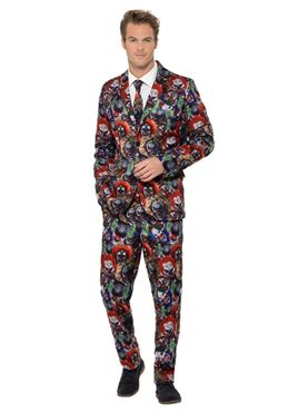 Adult Evil Clown Stand Out Suit - Side View