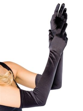 Adult Extra Long Satin Gloves - Various Colours - Side View