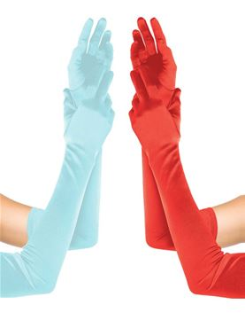 Adult Extra Long Satin Gloves - Various Colours