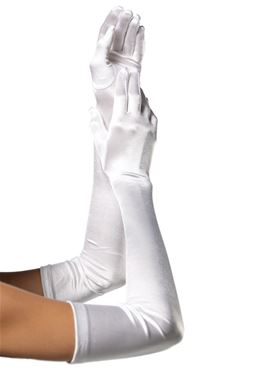 Adult Extra Long Satin Gloves - Various Colours - Back View