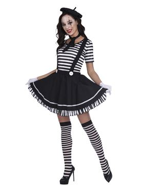 Adult Female Mime Artist Costume - Side View