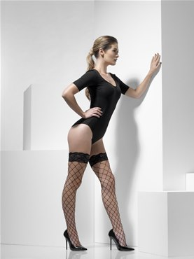 Adult Fever Black Diamond Net Hold Ups - Back View