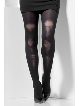 Adult Fever Black Distressed Tights