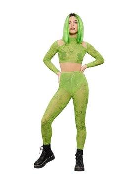 Adult Fever Cannabis Sheer Crop Top & Leggings Costume