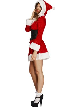 Adult Fever Hooded Santa Costume - Back View